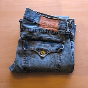 True Religion Flair Jeans with Yellow Buttons